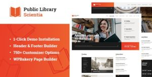 Scientia | Public Library & Book Store Education WordPress Theme v1.0.1 nulled