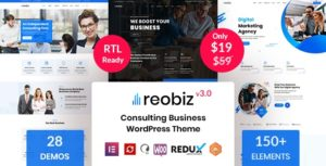 Reobiz – Consulting Business WordPress Theme v3.8.1 nulled